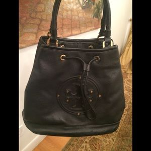 Black Leather Tory Burch Tote Bag with Dust Bag